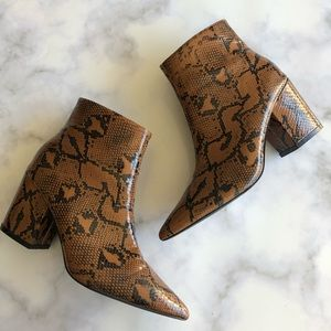 Pretty Little Thing Snake Block Heel Ankle Boot
